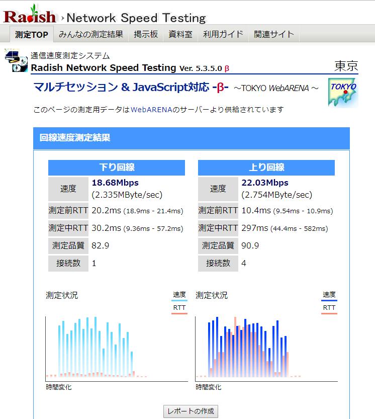 Radish Network Speed Testing画面