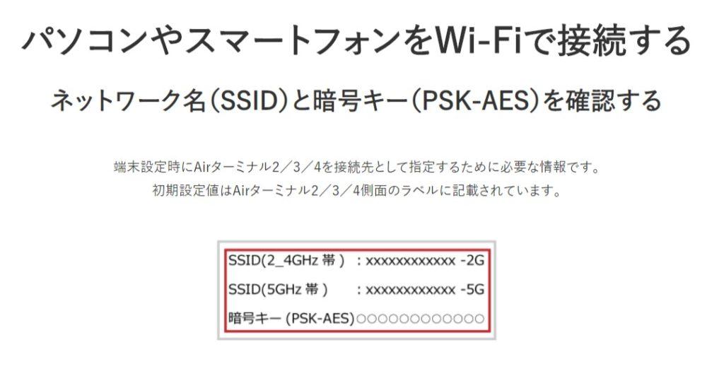 周波数帯 SSID