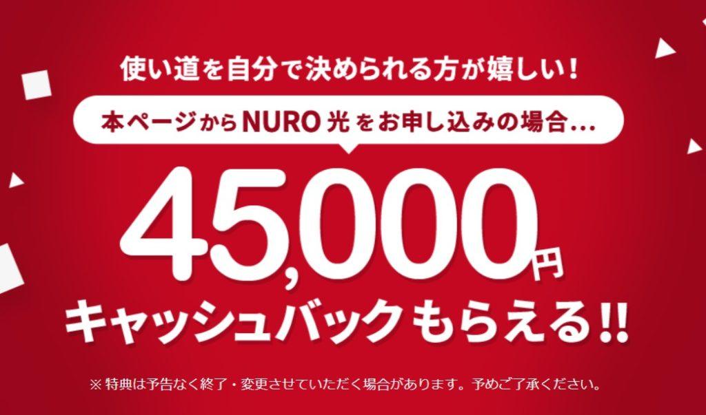 NURO 光 4.5万円キャッシュバック- NURO 光